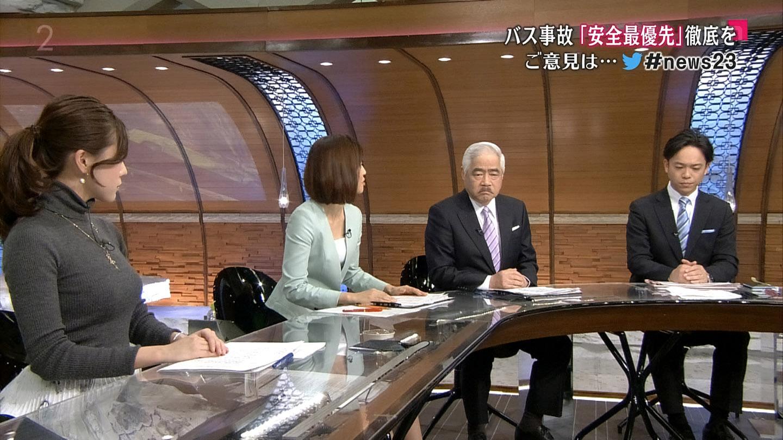 古谷有美アナのニット横乳がすごい!!