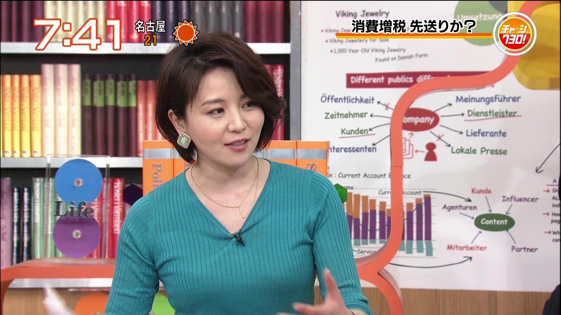 大橋未歩アナ 迫力のニット巨乳!!