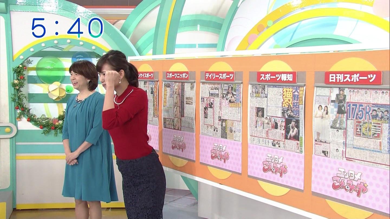 斎藤真美アナのバストラインとピップラインがくっきり!!