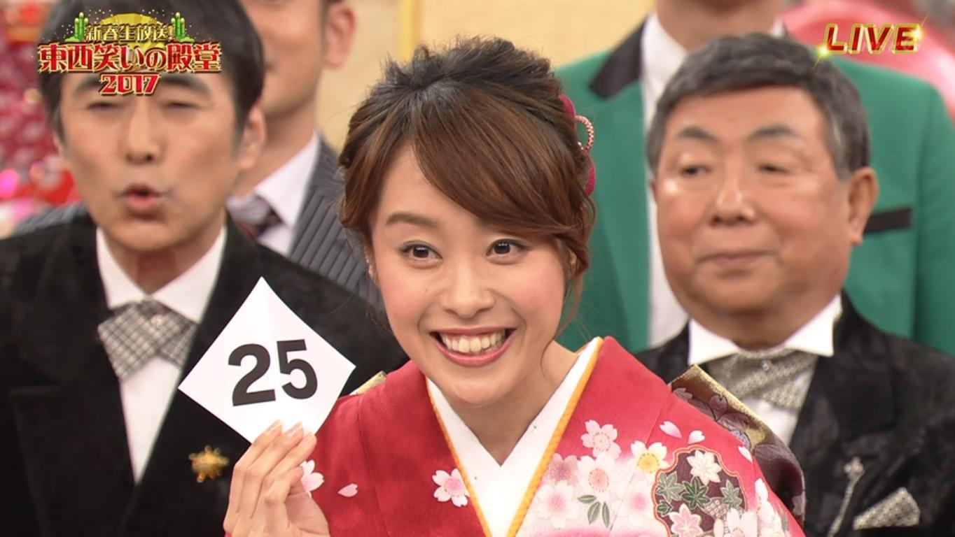 片山千恵子アナの振り袖