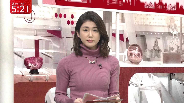 加藤真輝子アナ ピチピチ!ニット乳!!