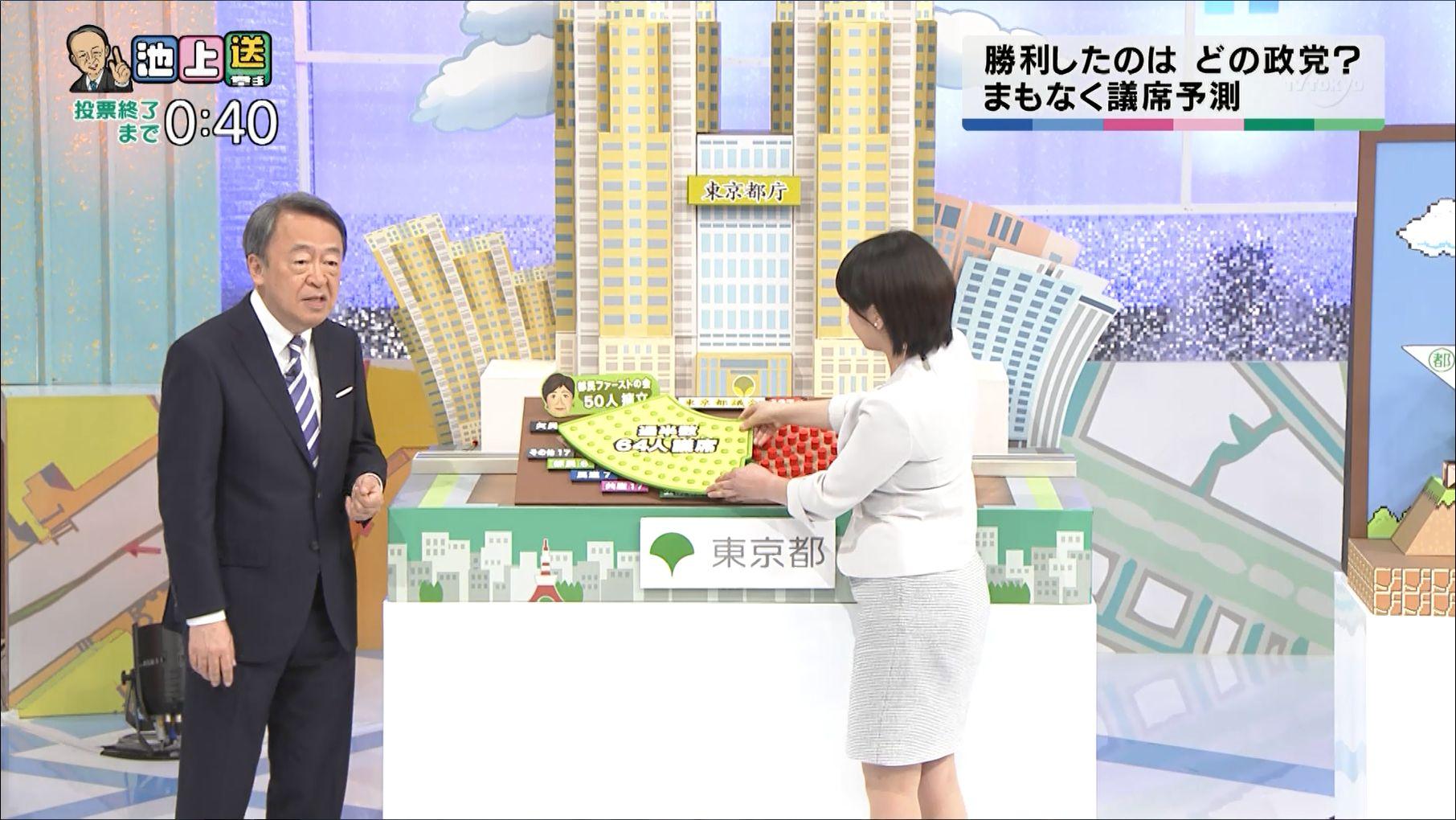 相内優香アナと大江麻理子アナ 池上彰の都議選ライブ