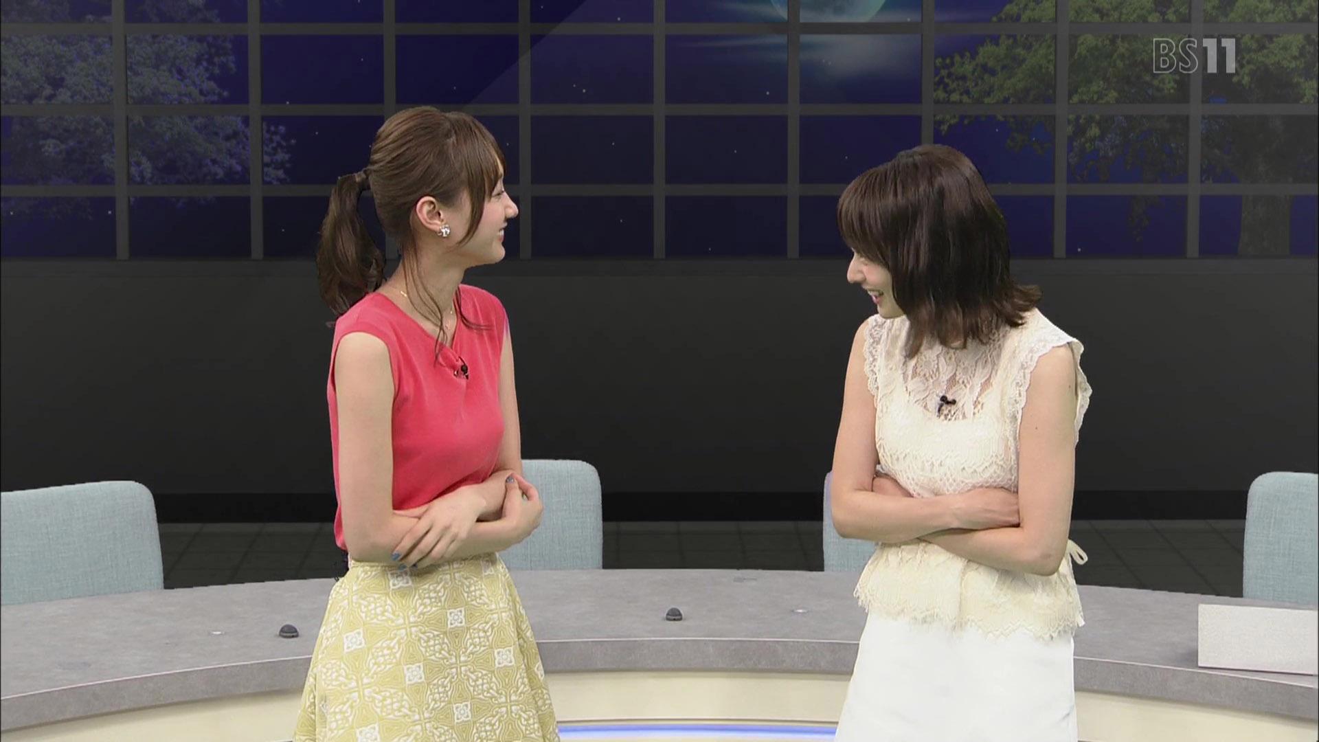 高見侑里アナと高田秋キャスター ノースリ & シースルー!