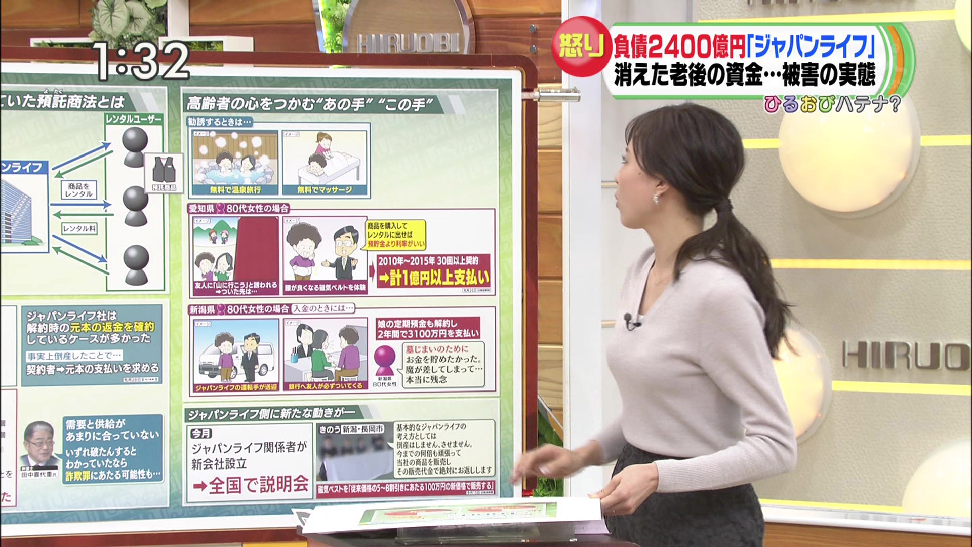 江藤愛アナと笹川友里アナ ひるおび! 横乳!
