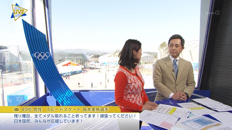 杉浦友紀アナ 平昌オリンピック3日目 ニット乳!
