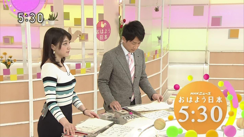 赤木野々花アナ 巨乳ニットのS字ボディーライン!!【GIF動画あり】