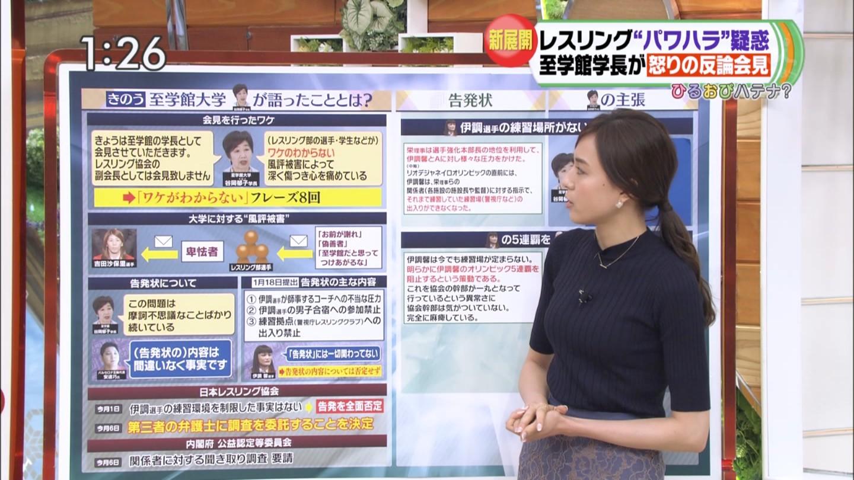 笹川友里アナ ニットの横乳!