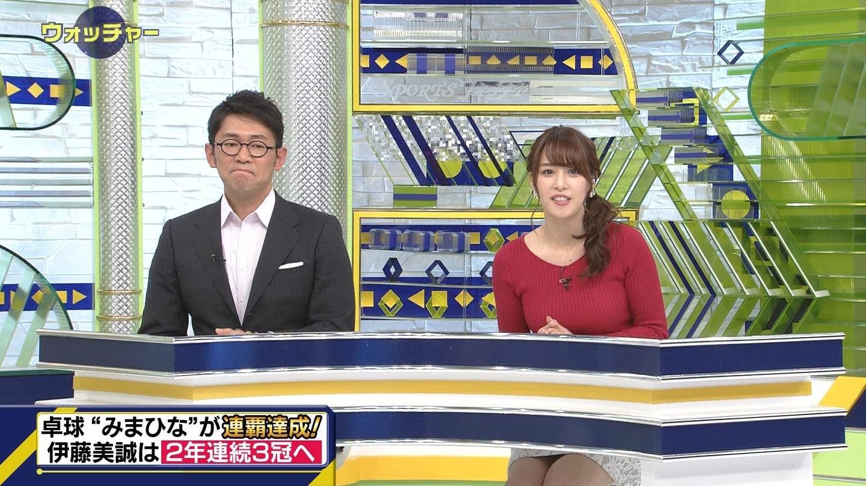 鷲見玲奈アナ ニットの巨乳と▼ゾーン!!