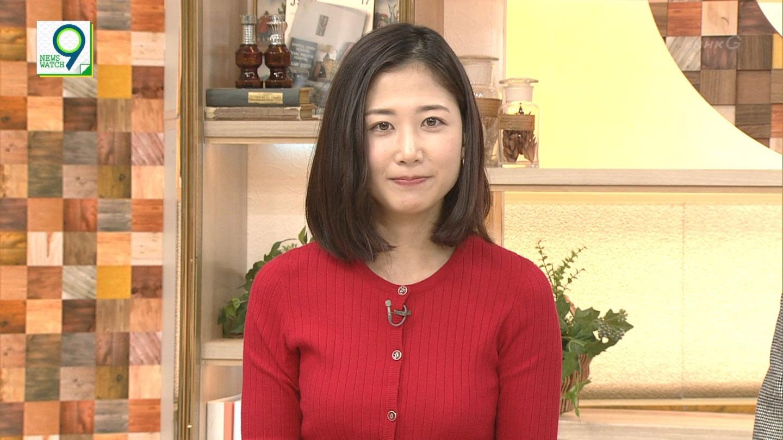 桑子真帆アナ ニット & 横乳!